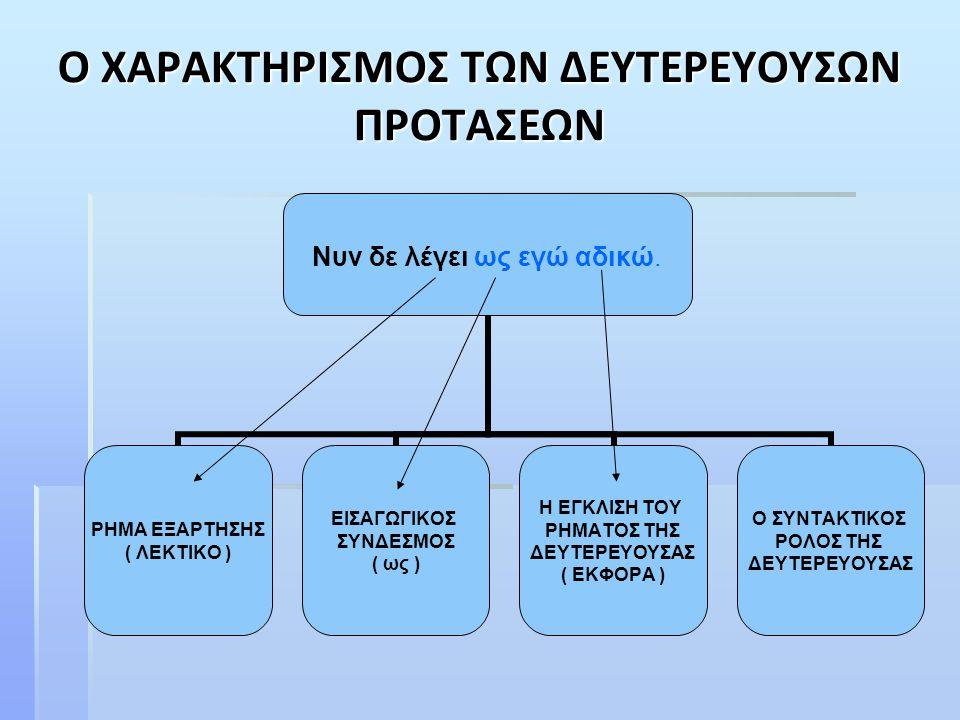 Ο ΧΑΡΑΚΤΗΡΙΣΜΟΣ ΤΩΝ ΔΕΥΤΕΡΕΥΟΥΣΩΝ ΠΡΟΤΑΣΕΩΝ