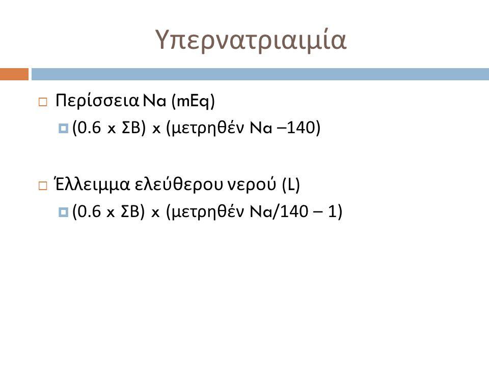 Υπερνατριαιμία Περίσσεια Na (mEq) Έλλειμμα ελεύθερου νερού (L)
