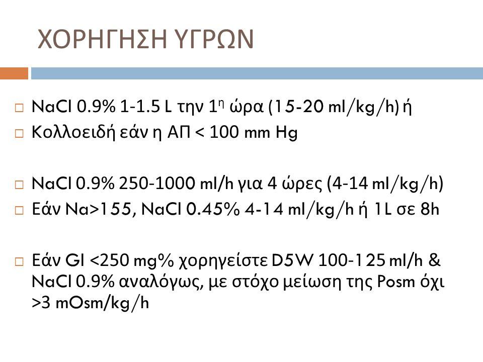 ΧΟΡΗΓΗΣΗ ΥΓΡΩΝ NaCl 0.9% 1-1.5 L την 1η ώρα (15-20 ml/kg/h) ή