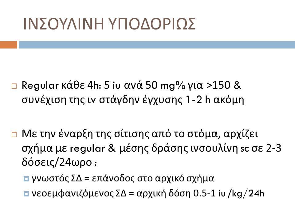 ΙΝΣΟΥΛΙΝΗ ΥΠΟΔΟΡΙΩΣ Regular κάθε 4h: 5 iu ανά 50 mg% για >150 & συνέχιση της ιv στάγδην έγχυσης 1-2 h ακόμη.