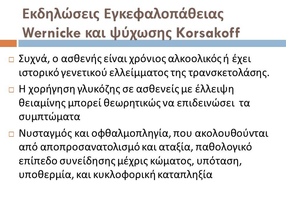 Εκδηλώσεις Εγκεφαλοπάθειας Wernicke και ψύχωσης Korsakoff