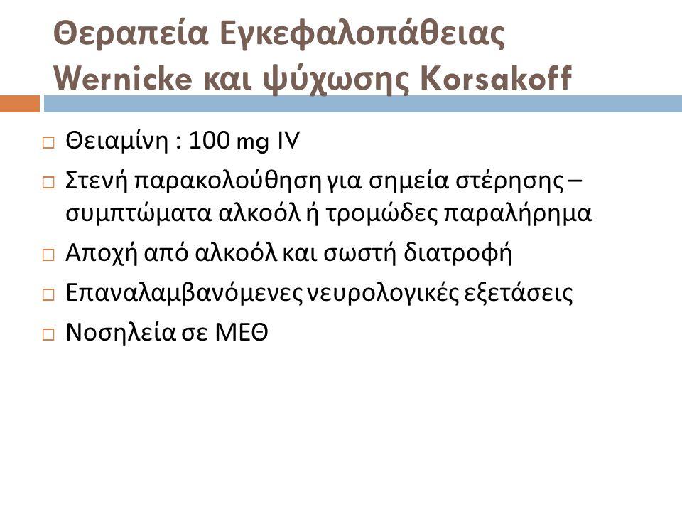 Θεραπεία Εγκεφαλοπάθειας Wernicke και ψύχωσης Korsakoff