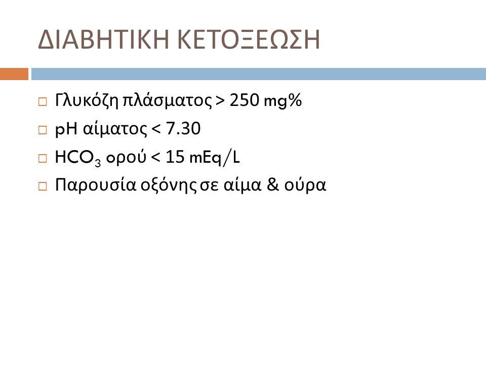 ΔΙΑΒΗΤΙΚΗ ΚΕΤΟΞΕΩΣΗ Γλυκόζη πλάσματος > 250 mg%