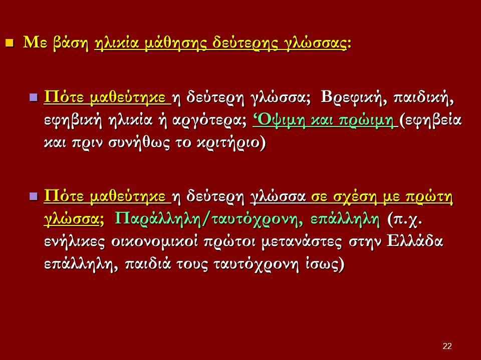 Με βάση ηλικία μάθησης δεύτερης γλώσσας: