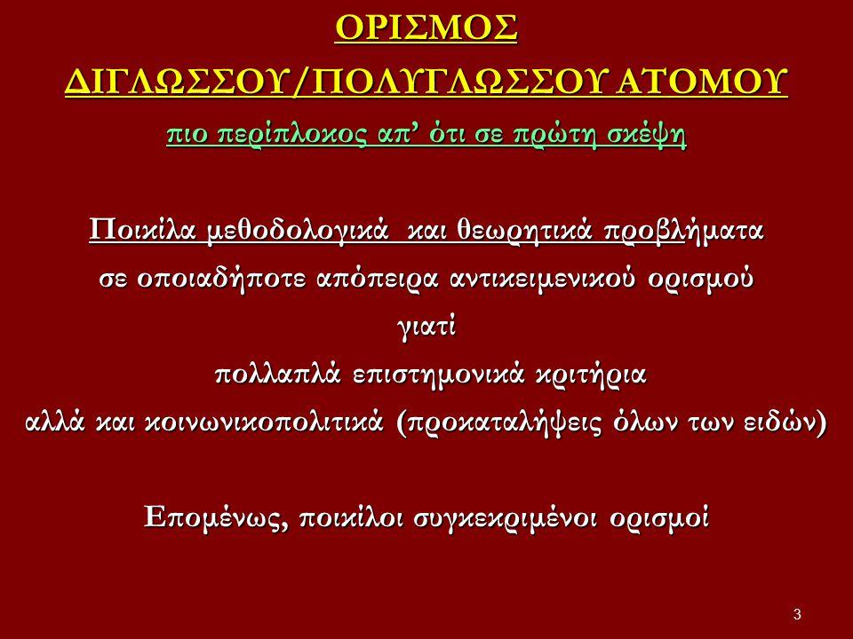 ΟΡΙΣΜΟΣ ΔΙΓΛΩΣΣΟΥ/ΠΟΛΥΓΛΩΣΣΟΥ ΑΤΟΜΟΥ