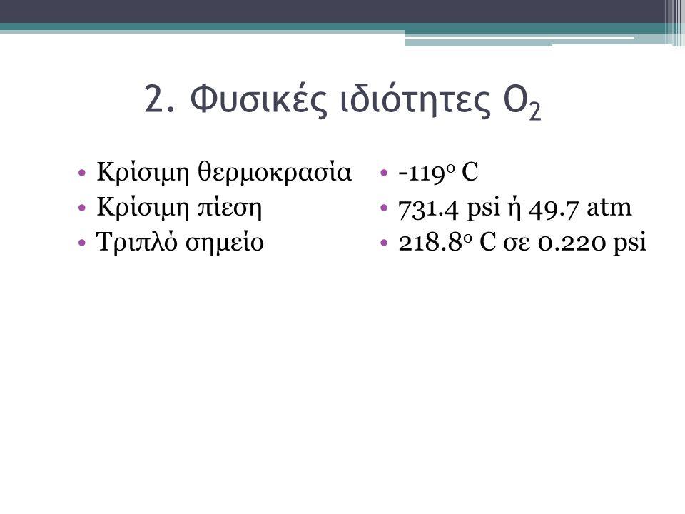 2. Φυσικές ιδιότητες Ο2 Κρίσιμη θερμοκρασία Κρίσιμη πίεση