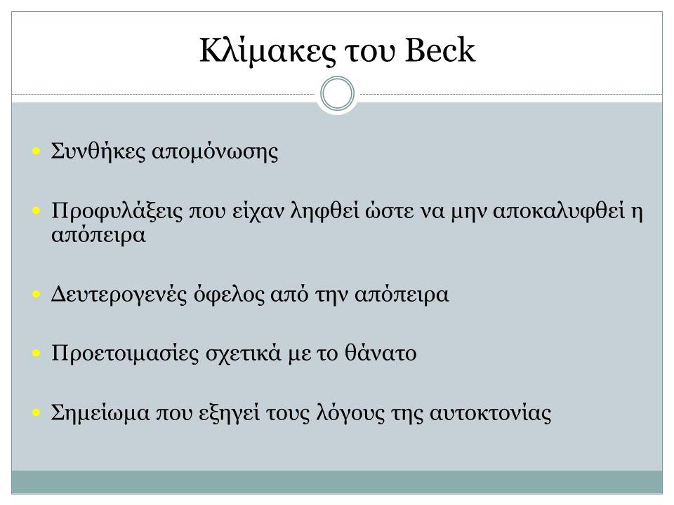 Κλίμακες του Beck Συνθήκες απομόνωσης