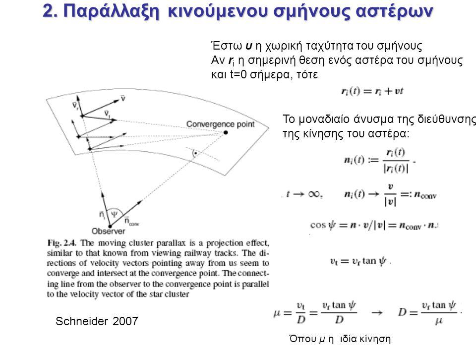 2. Παράλλαξη κινούμενου σμήνους αστέρων