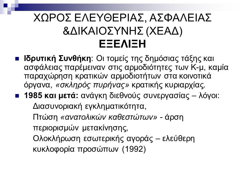 ΧΩΡΟΣ ΕΛΕΥΘΕΡΙΑΣ, ΑΣΦΑΛΕΙΑΣ &ΔΙΚΑΙΟΣΥΝΗΣ (ΧΕΑΔ) ΕΞΕΛΙΞΗ
