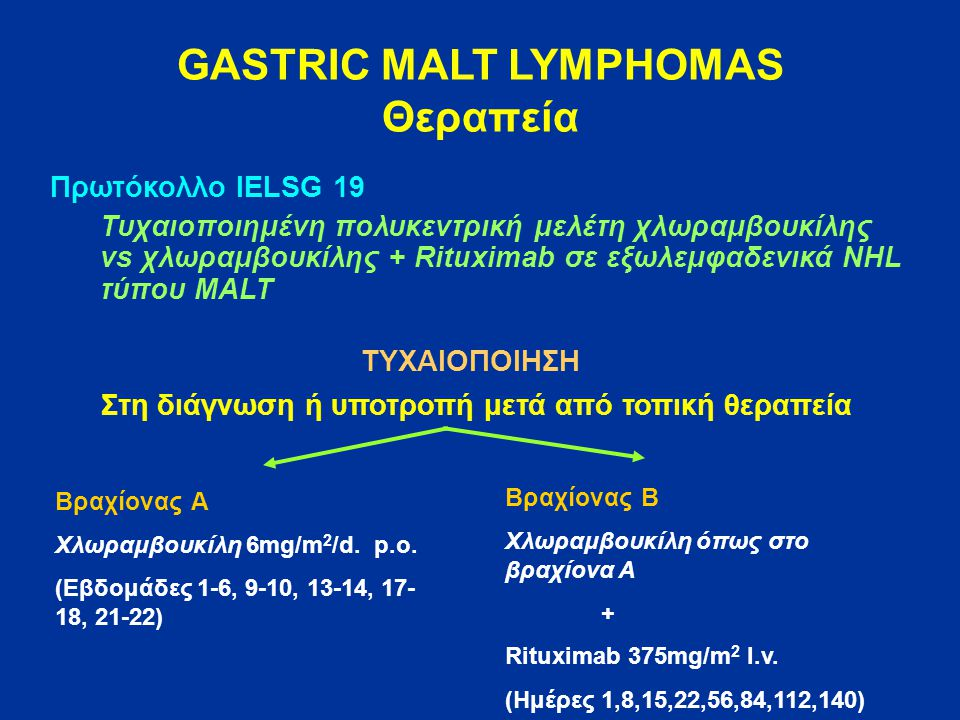 GASTRIC MALT LYMPHOMAS Θεραπεία