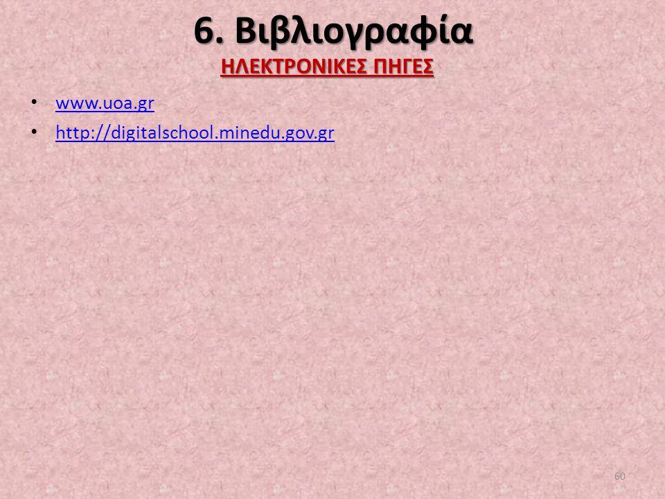 6. Βιβλιογραφία ΗΛΕΚΤΡΟΝΙΚΕΣ ΠΗΓΕΣ www.uoa.gr