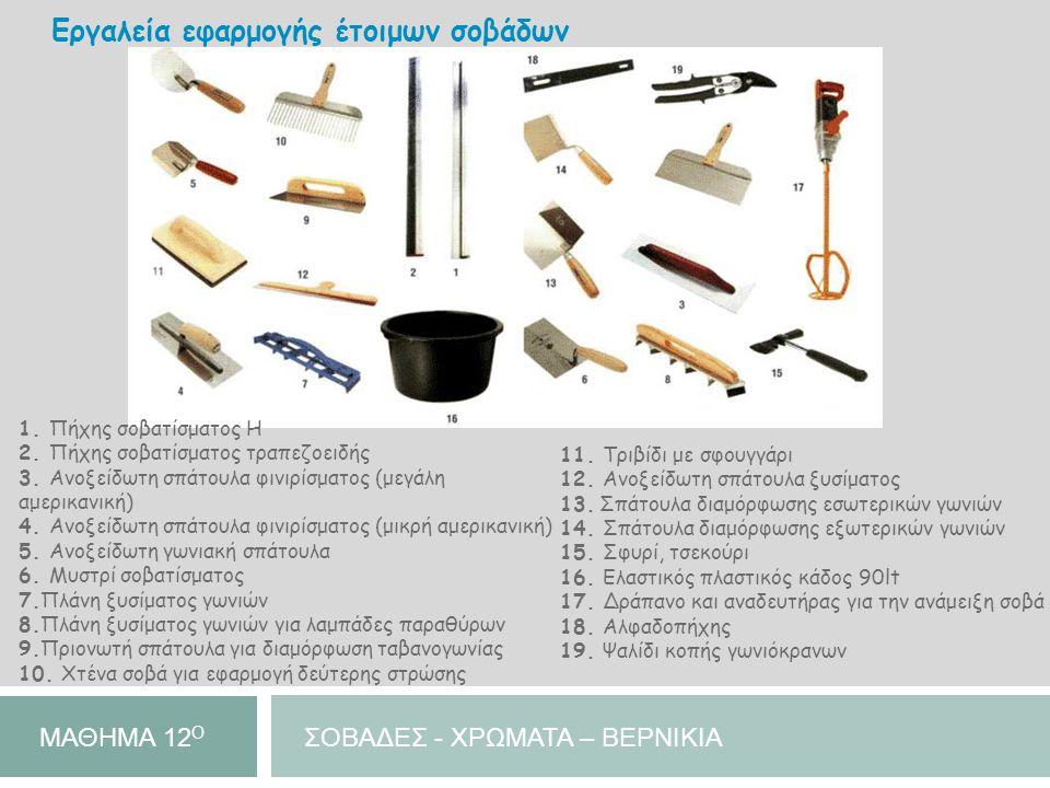 Εργαλεία εφαρμογής έτοιμων σοβάδων