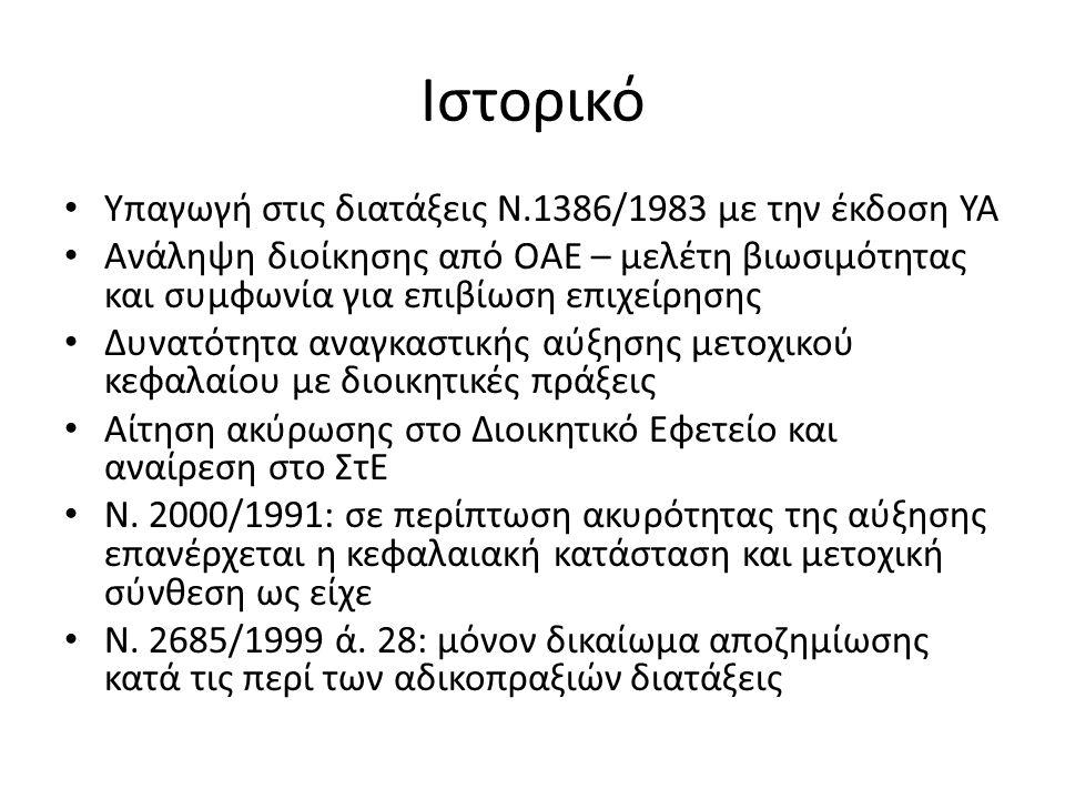Ιστορικό Υπαγωγή στις διατάξεις Ν.1386/1983 με την έκδοση ΥΑ