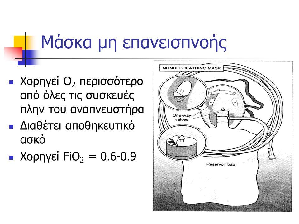 Μάσκα μη επανεισπνοής Χορηγεί Ο2 περισσότερο από όλες τις συσκευές πλην του αναπνευστήρα. Διαθέτει αποθηκευτικό ασκό.