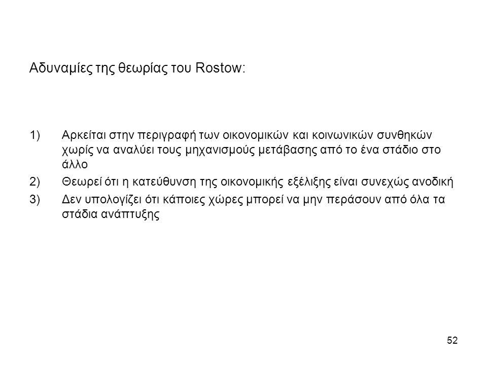 Αδυναμίες της θεωρίας του Rostow: