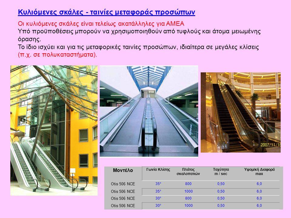 Κυλιόμενες σκάλες - ταινίες μεταφοράς προσώπων