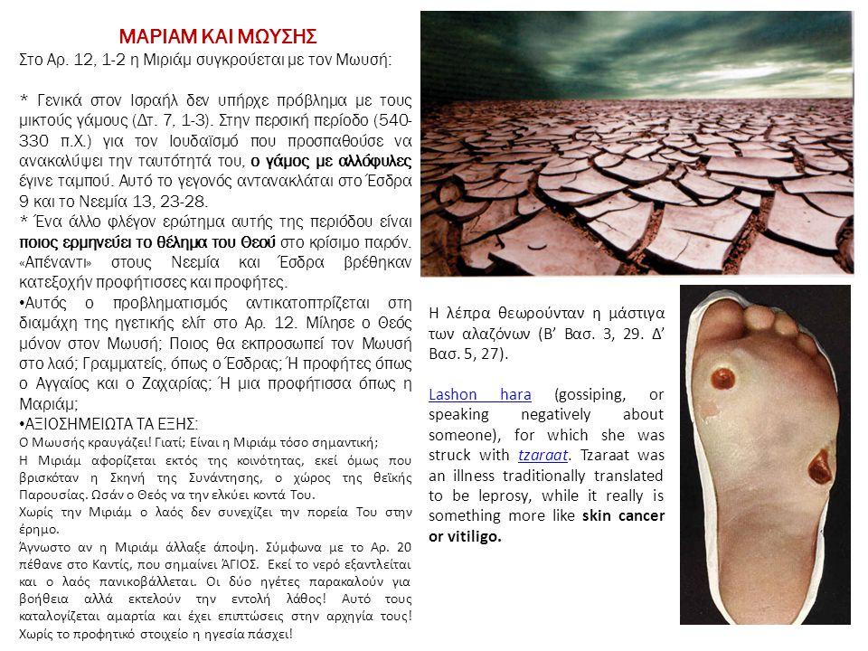 ΜΑΡΙΑΜ ΚΑΙ ΜΩΥΣΗΣ Στο Αρ. 12, 1-2 η Μιριάμ συγκρούεται με τον Μωυσή: