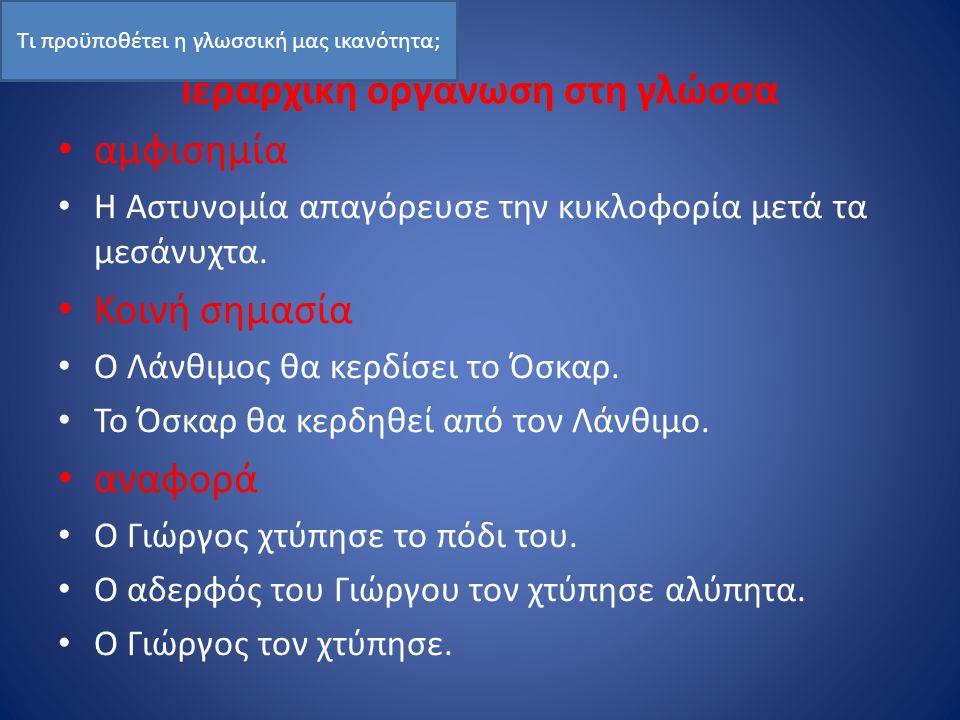 Ιεραρχική οργάνωση στη γλώσσα