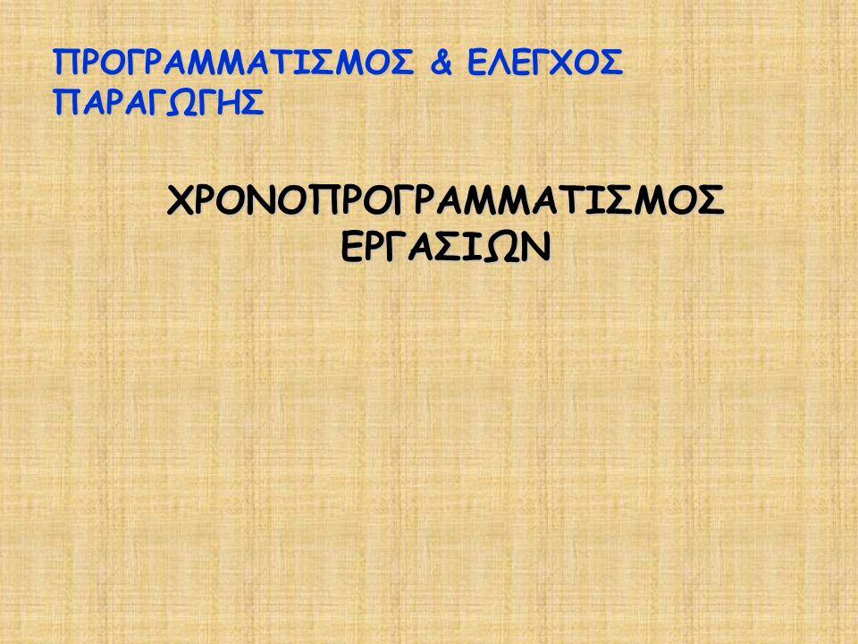 ΧΡΟΝΟΠΡΟΓΡΑΜΜΑΤΙΣΜΟΣ ΕΡΓΑΣΙΩΝ