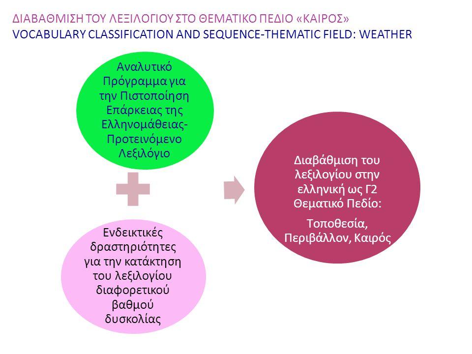 Διαβάθμιση του λεξιλογίου στην ελληνική ως Γ2 Θεματικό Πεδίο: