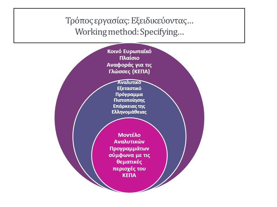 Τρόπος εργασίας: Εξειδικεύοντας… Working method: Specifying…