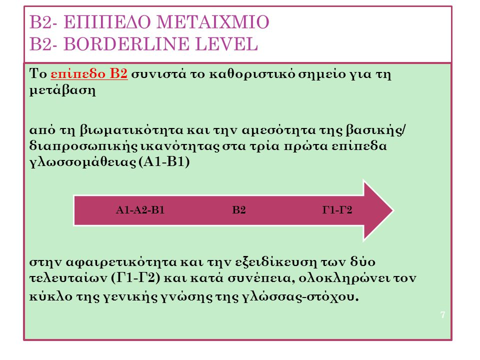 B2- EΠΙΠΕΔΟ ΜΕΤΑΙΧΜΙΟ Β2- ΒΟRDERLINE LEVEL