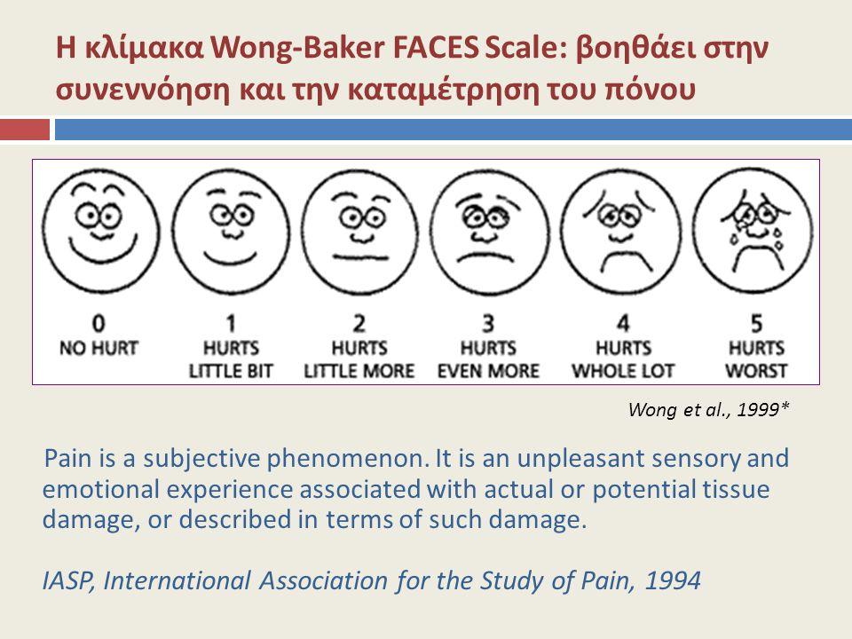 Η κλίμακα Wong-Baker FACES Scale: βοηθάει στην συνεννόηση και την καταμέτρηση του πόνου