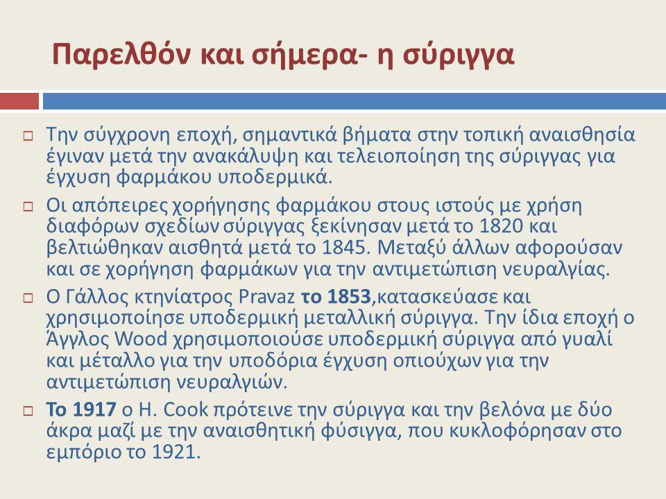 Παρελθόν και σήμερα- η σύριγγα