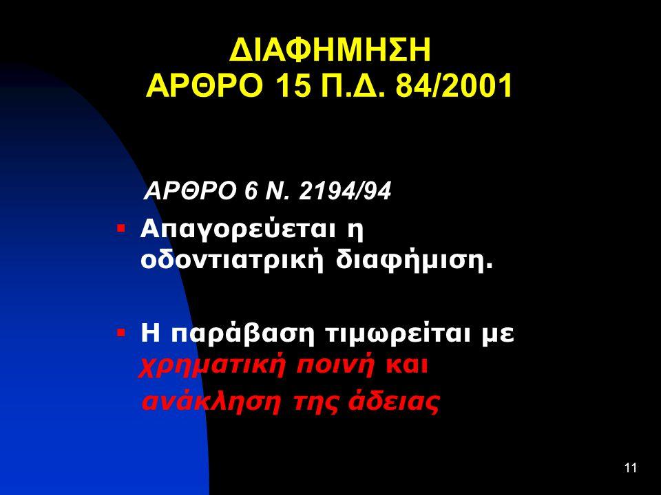ΔΙΑΦΗΜΗΣΗ ΑΡΘΡΟ 15 Π.Δ. 84/2001 ΑΡΘΡΟ 6 Ν. 2194/94