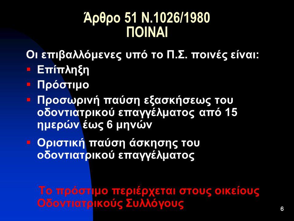 Άρθρο 51 Ν.1026/1980 ΠΟΙΝΑΙ Οι επιβαλλόμενες υπό το Π.Σ. ποινές είναι:
