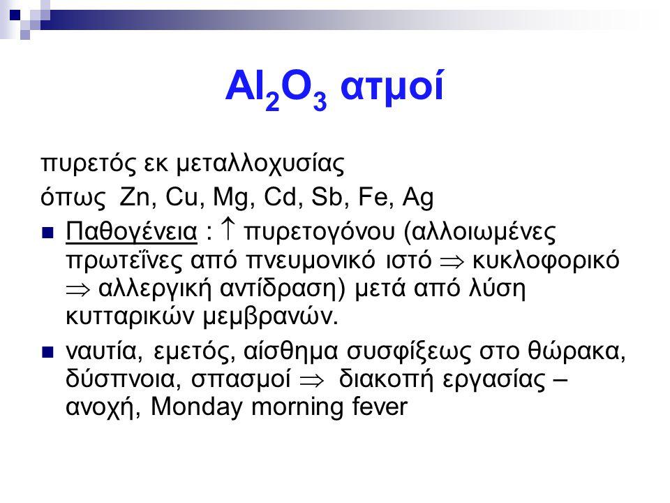 Αl2Ο3 ατμοί πυρετός εκ μεταλλοχυσίας όπως Zn, Cu, Mg, Cd, Sb, Fe, Ag