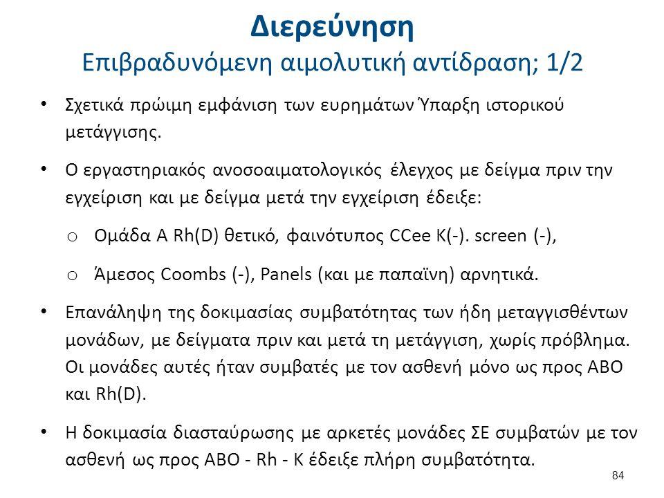 Διερεύνηση Επιβραδυνόμενη αιμολυτική αντίδραση; 2/2