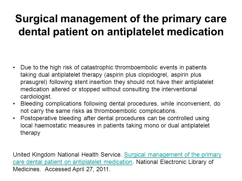 Surgical management of the primary care dental patient on antiplatelet medication