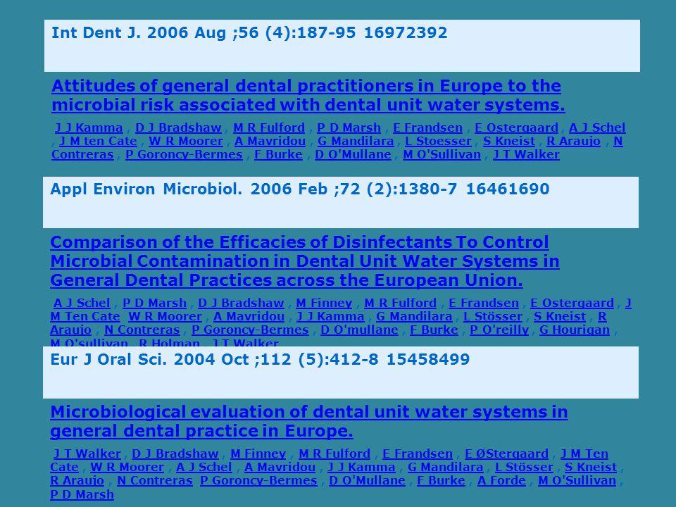 Int Dent J. 2006 Aug ;56 (4):187-95 16972392