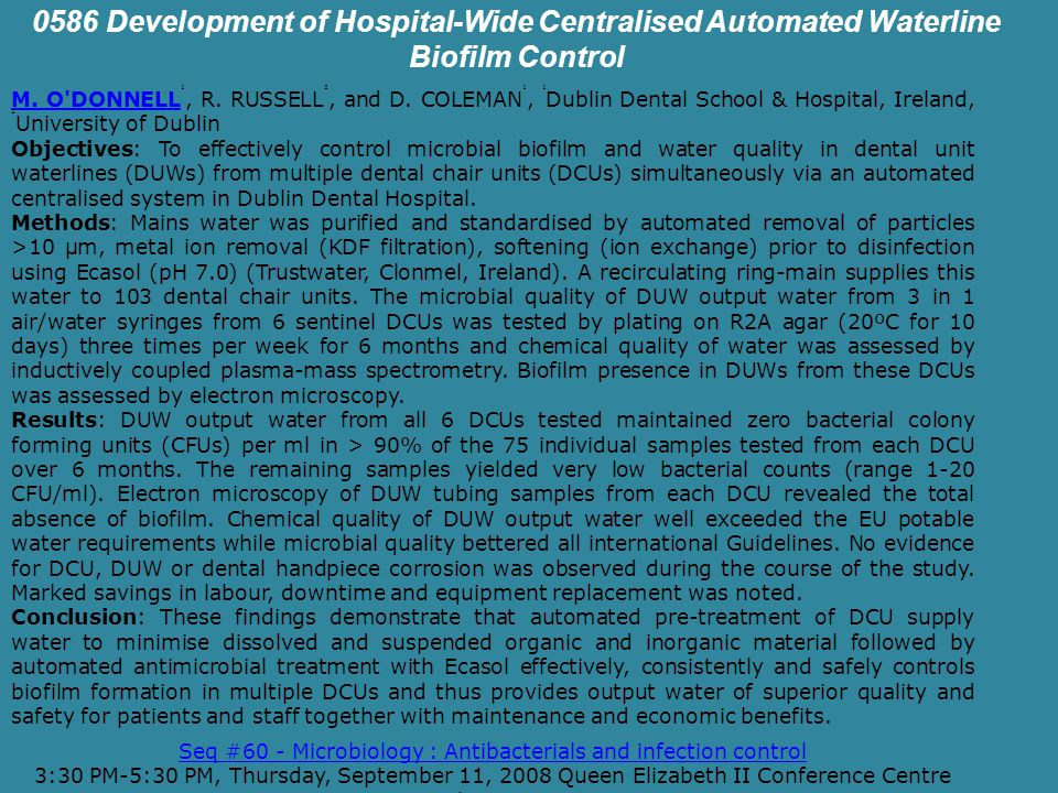 0586 Development of Hospital-Wide Centralised Automated Waterline Biofilm Control