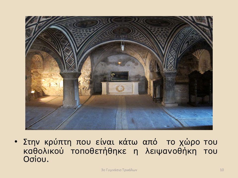 Στην κρύπτη που είναι κάτω από το χώρο του καθολικού τοποθετήθηκε η λειψανοθήκη του Οσίου.