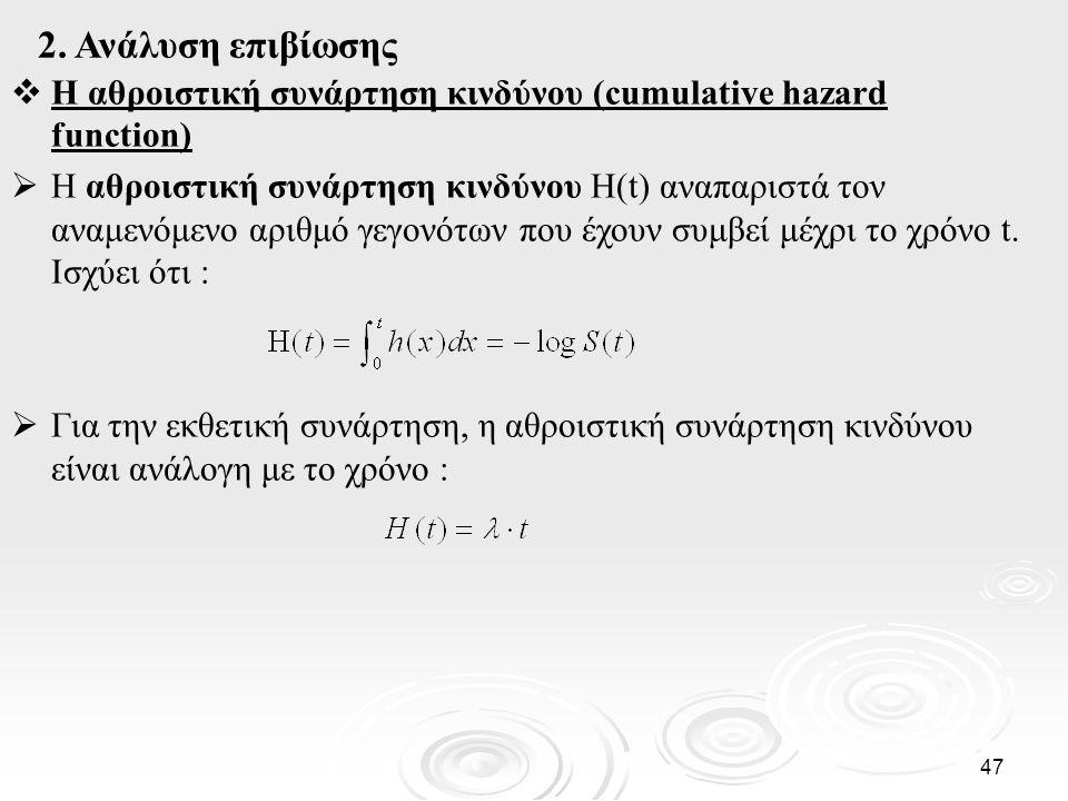 2. Ανάλυση επιβίωσης Η αθροιστική συνάρτηση κινδύνου (cumulative hazard function)
