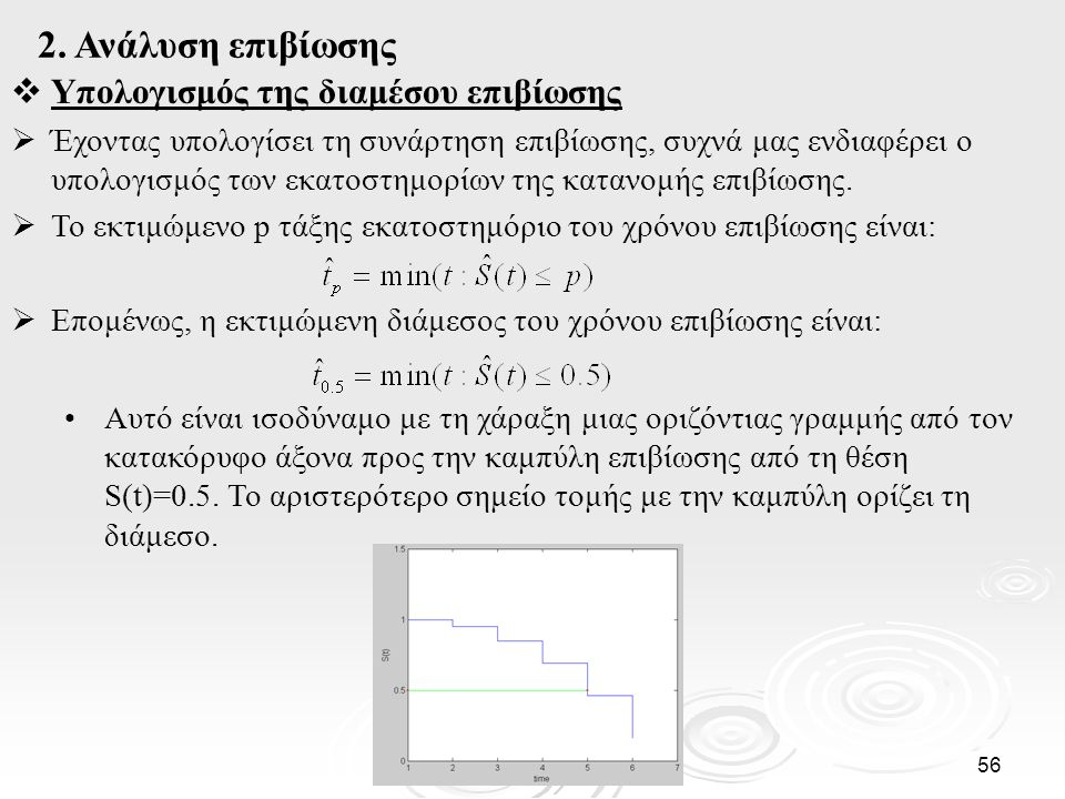 2. Ανάλυση επιβίωσης Υπολογισμός της διαμέσου επιβίωσης