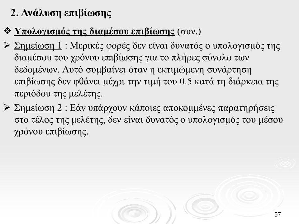 2. Ανάλυση επιβίωσης Υπολογισμός της διαμέσου επιβίωσης (συν.)