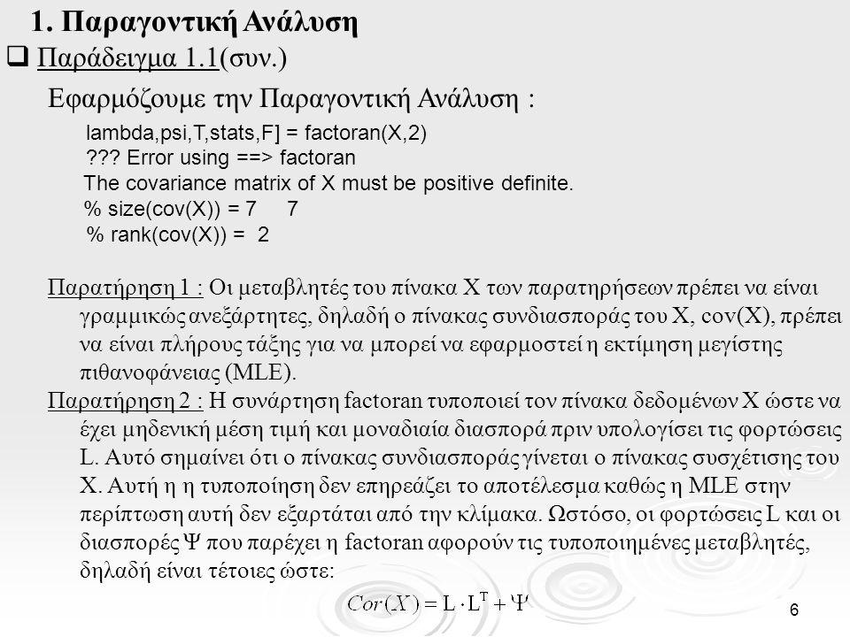 1. Παραγοντική Ανάλυση Παράδειγμα 1.1(συν.)