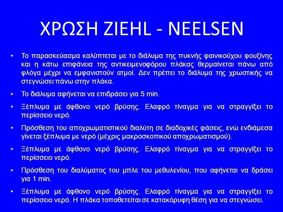 ΧΡΩΣΗ ZIEHL - NEELSEN