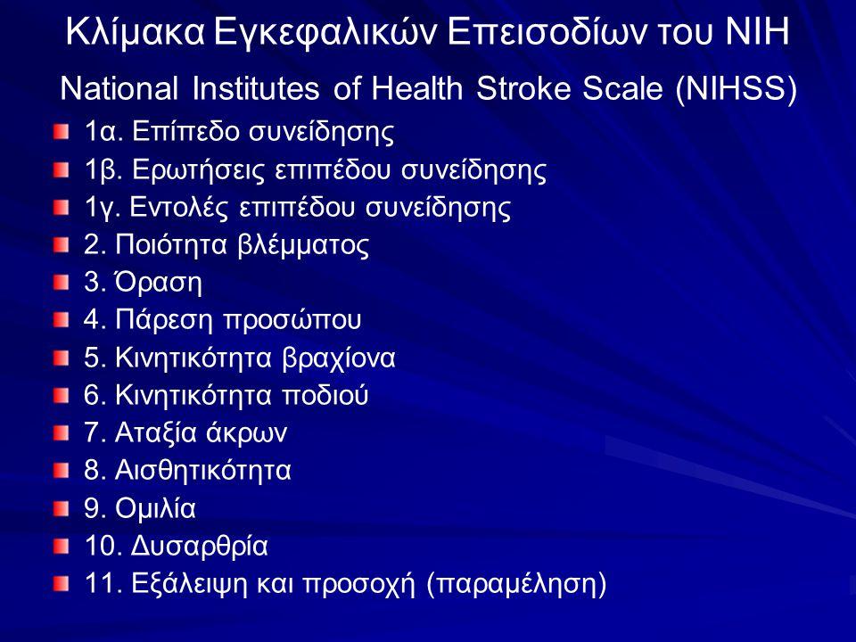 Κλίμακα Εγκεφαλικών Επεισοδίων του ΝΙΗ National Institutes of Health Stroke Scale (NIHSS)
