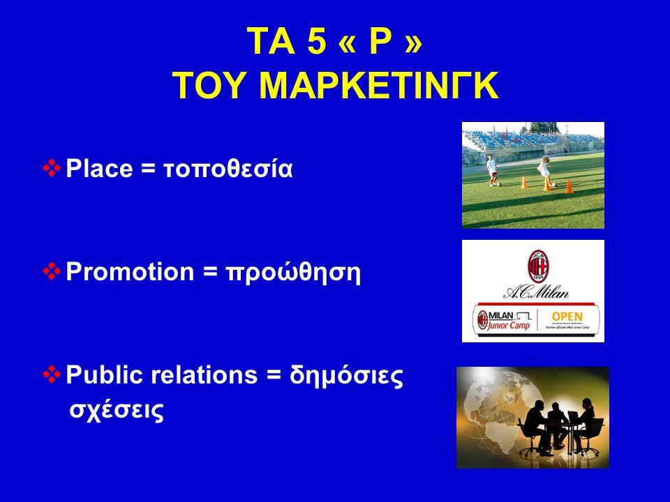 ΤΑ 5 « Ρ » ΤΟΥ ΜΑΡΚΕΤΙΝΓΚ Place = τοποθεσία Promotion = προώθηση