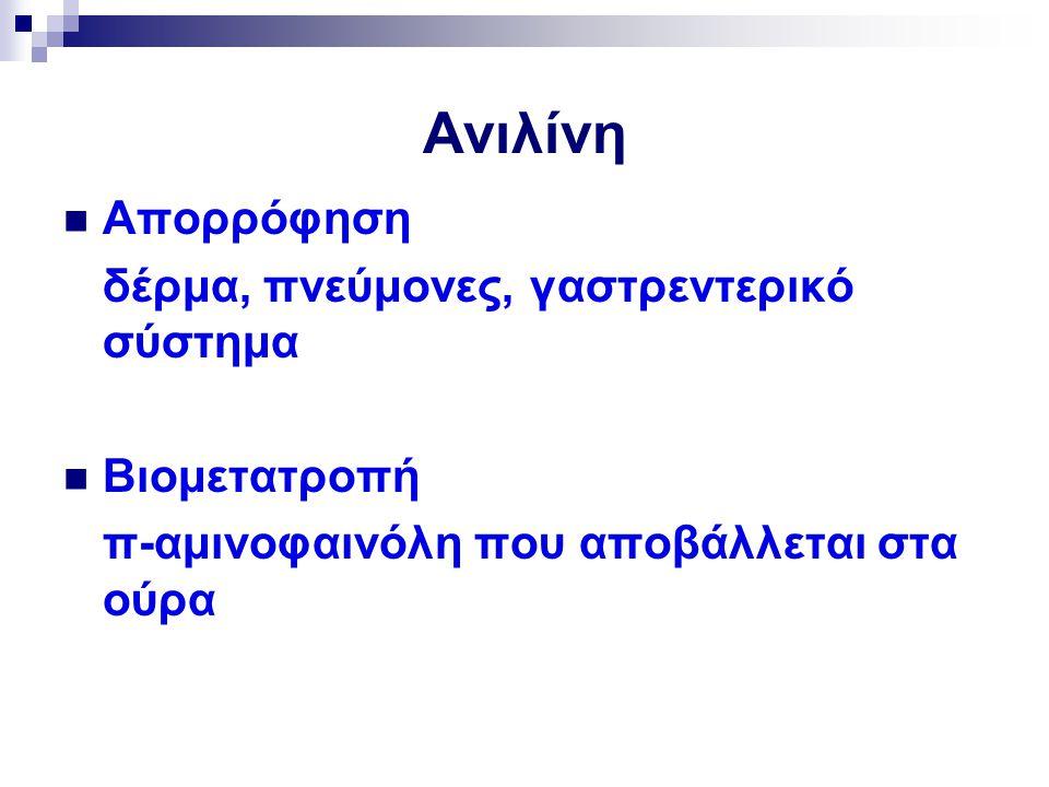 Ανιλίνη Απορρόφηση δέρμα, πνεύμονες, γαστρεντερικό σύστημα