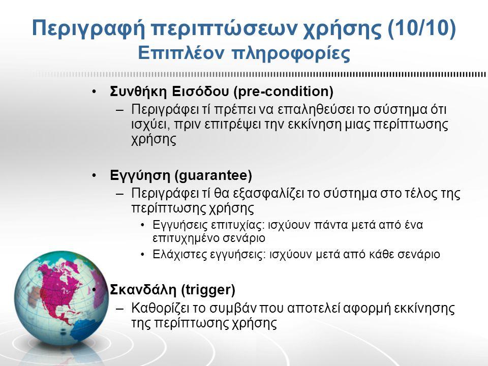 Περιγραφή περιπτώσεων χρήσης (10/10) Επιπλέον πληροφορίες
