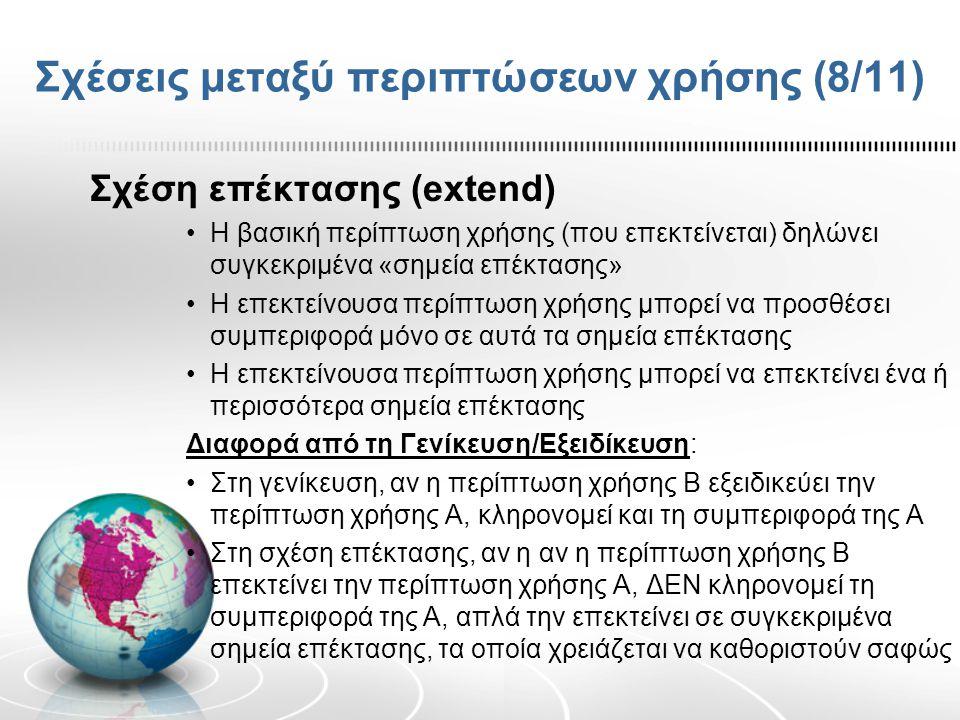 Σχέσεις μεταξύ περιπτώσεων χρήσης (8/11)