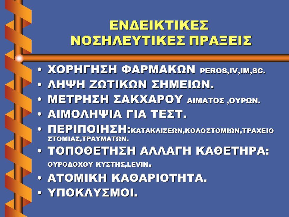 ΕΝΔΕΙΚΤΙΚΕΣ ΝΟΣΗΛΕΥΤΙΚΕΣ ΠΡΑΞΕΙΣ