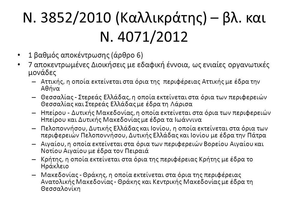 Ν. 3852/2010 (Καλλικράτης) – βλ. και Ν. 4071/2012