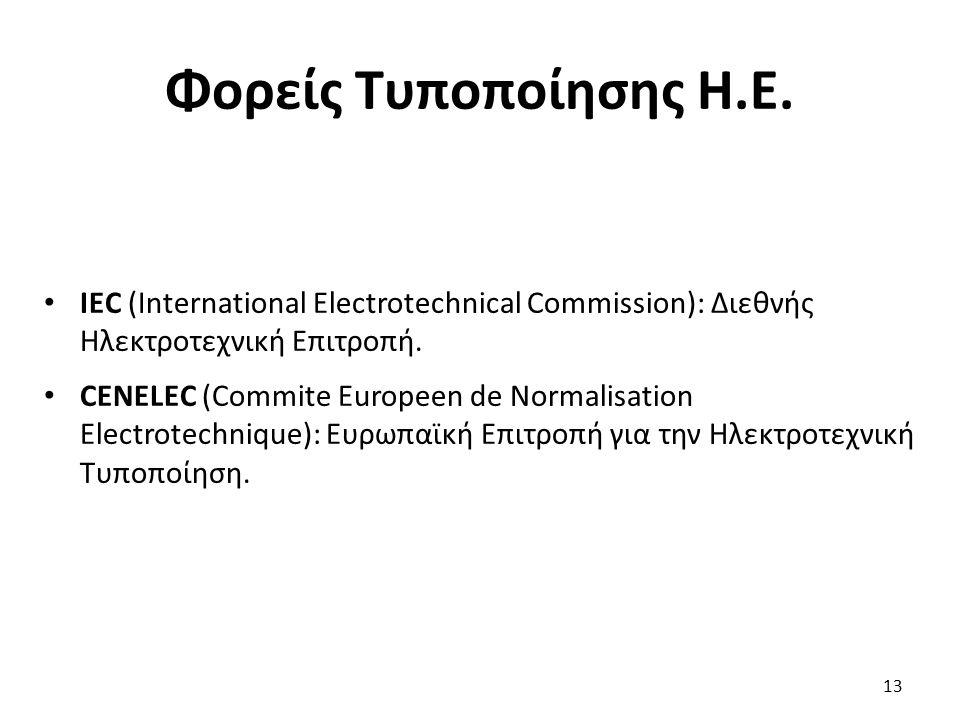 Φορείς Τυποποίησης Η.Ε. IEC (International Electrotechnical Commission): Διεθνής Ηλεκτροτεχνική Επιτροπή.