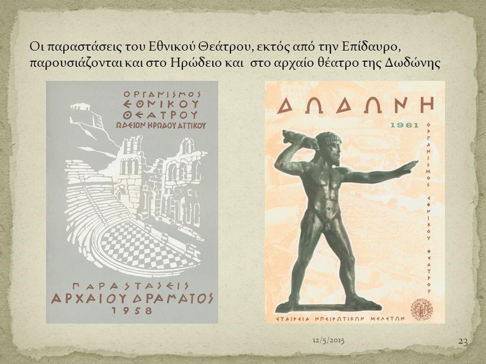 Οι παραστάσεις του Εθνικού Θεάτρου, εκτός από την Επίδαυρο, παρουσιάζονται και στο Ηρώδειο και στο αρχαίο θέατρο της Δωδώνης